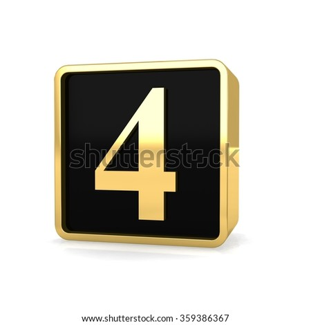 3d golden square box number 4 four with gold metal frame alphabet perspective render - stock photo