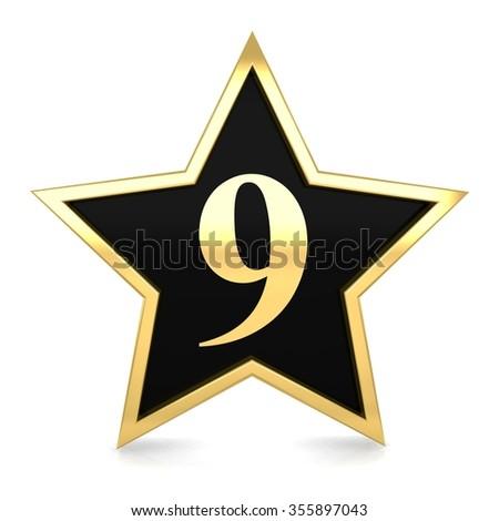 3d golden star number 9 nine with gold metal frame render - stock photo