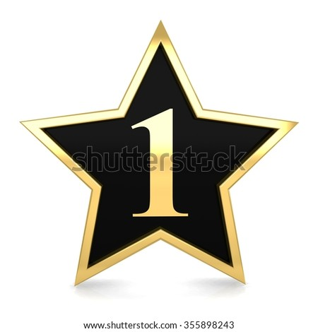 3d golden star number 1 one with gold metal frame render - stock photo