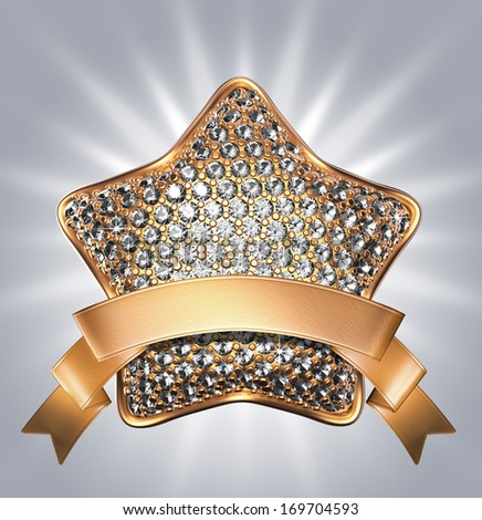 3d golden star symbol with diamonds, clear crystals, gems, jewels; clip art isolated on silver background - stock photo