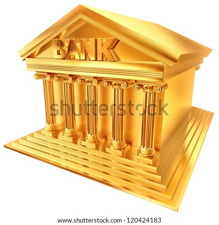 3D golden symbol in a stylized form of a bank building - stock photo