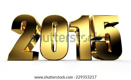 3D Golden 2015 Text. 3D Happy New Year Golden 2015 - stock photo