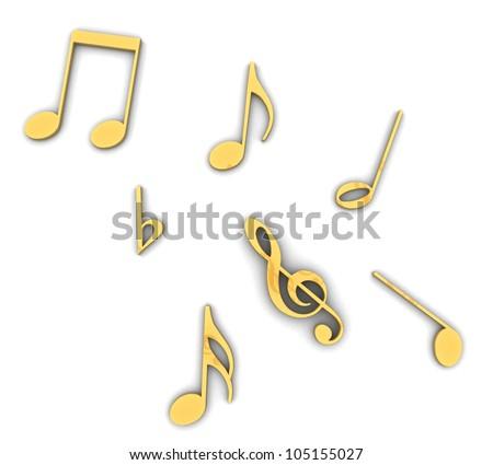 3d Golden treble clef - stock photo