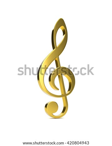 3D golden violin clef on a white background - stock photo