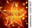 3d golden year 2013 in shining star - stock photo