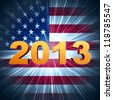 3d golden year 2013 with rays and shining american flag - stock photo