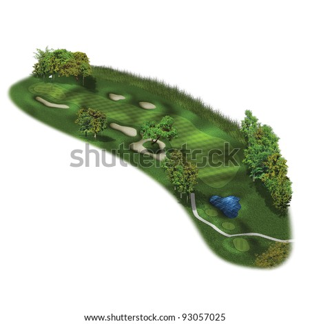 3D Golf Course Hole Layout/Three dimensional golf links illustration - stock photo