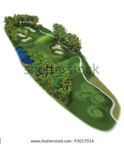 3D Golf Course Hole Layout/Three dimensional, par five golf illustration - stock photo