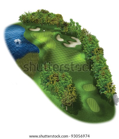 3D Golf Course Hole Layout/Three dimensional, par 3 golf illustration - stock photo