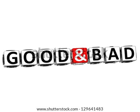 3D Good And Bad Button Click Here Block Text over white background - stock photo