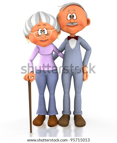 3D grandpa and grandma - isolated over a white background - stock photo