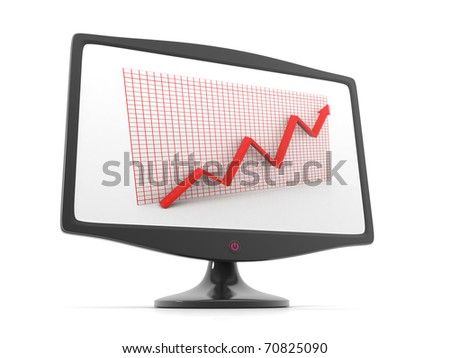 3d graph arrow rise in monitor display - stock photo