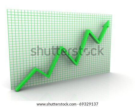 3d graph arrow rise isolated on white background - stock photo