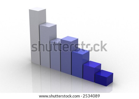 3d graph representing growth - stock photo