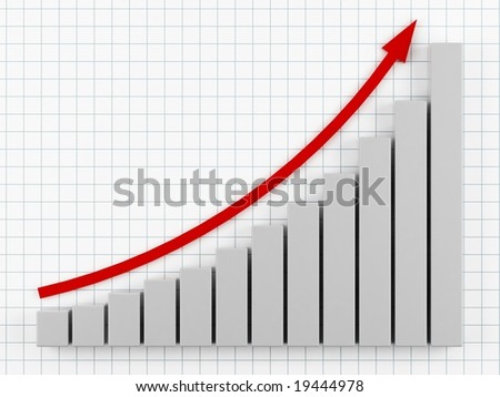 3d graph showing rise in profits or earnings. - stock photo