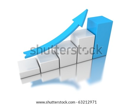 3d graph with blue arrow isolated on white background - stock photo