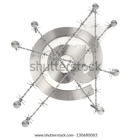 3d graphic with razor wire  arrest  with isolated e-mail symbol - stock photo