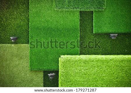 3d grass wall / green grass wall - stock photo