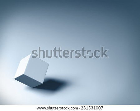 3d gray cube on gray background with shadow. - stock photo
