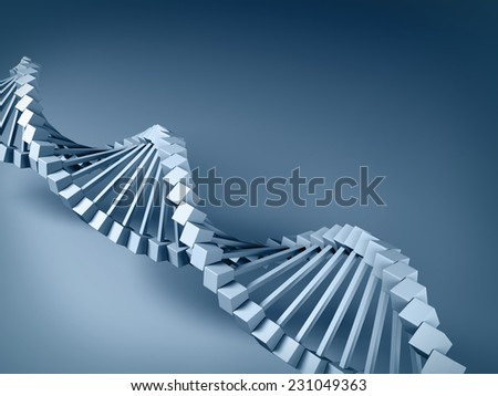 3d gray DNA model on gray background. - stock photo