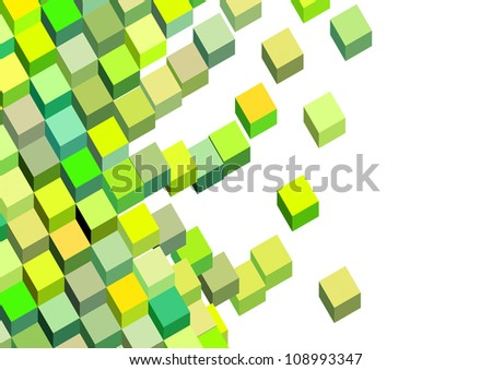 3d green abstract fluid floating cube pattern on white - stock photo