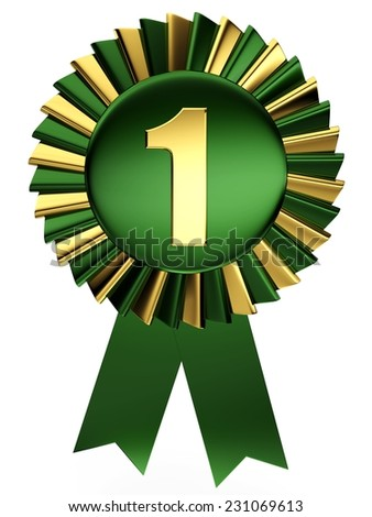 3d green and gold number 1 from my number collection. 3d number one isolated on white background. - stock photo