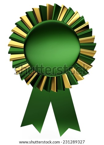 3d green and golden ribbon collection - stock photo