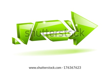 3D green broken arrow pointer with reflection (raster version, available as vector too) - stock photo