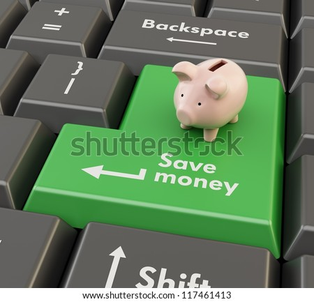 3d green button with piggy bank and text Save money - stock photo