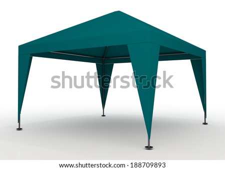 3D green canopy, tent for outdoor activity and canvas, pipe structure in isolated background with work paths, clipping paths included - stock photo