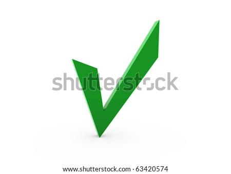 3d green check isolated on white background - stock photo