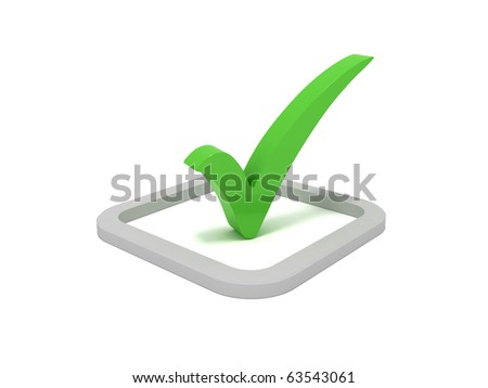 3D green check mark sign - stock photo