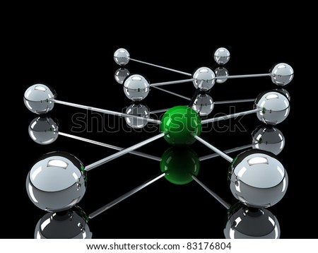 3d, green, chrome, ball, network, communication, black - stock photo
