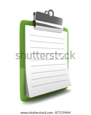 3D Green Clipboard isolated - stock photo