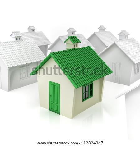 3d green house concept - stock photo