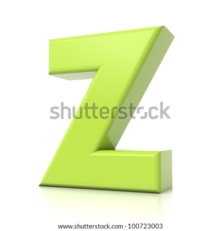 3D green letter collection - Z - stock photo