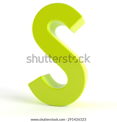 3d Green letter S - stock photo