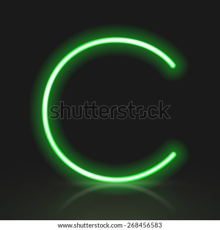3d green neon light letter C isolated on black background - stock photo