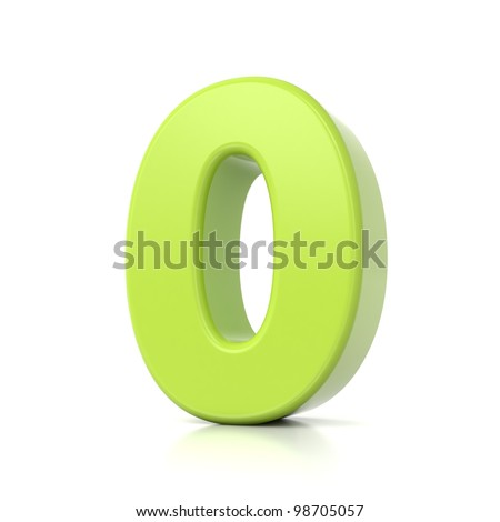 3D green number collection - 0 - stock photo