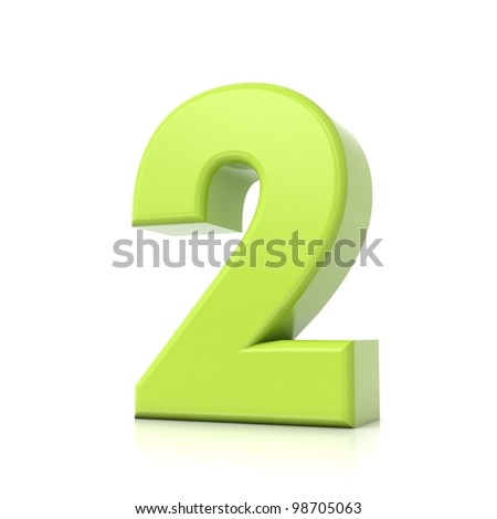 3D green number collection - 2 - stock photo