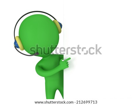 3d green people manager peeking from behind and points finger isolated on white render. - stock photo