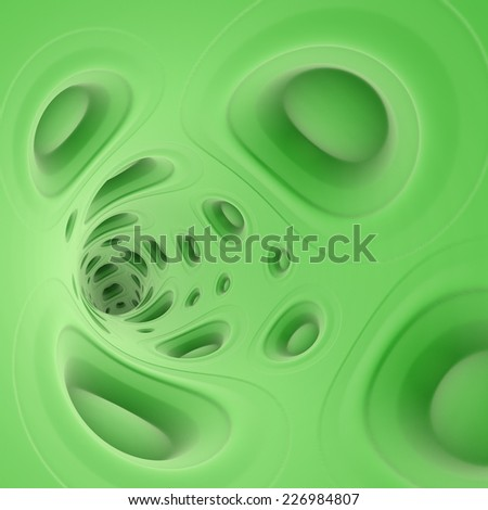 3d green speaker sound system tunnel - stock photo