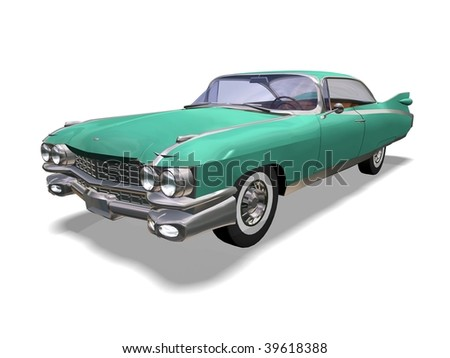 3D green vintage automobile white background - stock photo
