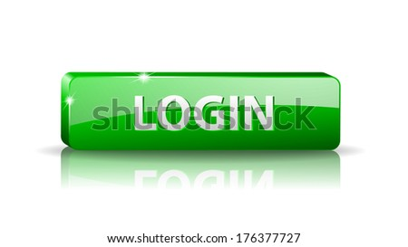 3D green web button with white sign login and reflection (raster version, available as vector too) - stock photo