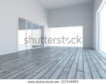 3D grey empty interior  - stock photo