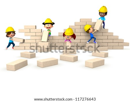 3D group of kids building a wall as a team - isolated - stock photo