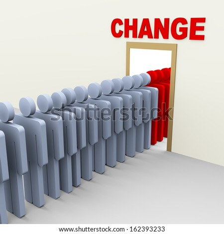 3d group of man step through door for change. Concept of change, adaption, innovation, growth, development. - stock photo