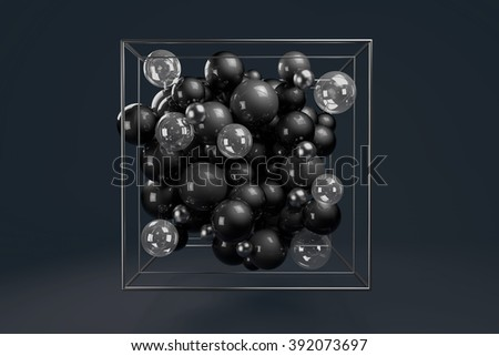 3d group of monochrome glossy spheres in chrome wire cube. Black plastic balls with transparent bubbles and metal spheres. Centered composition on dark background.  - stock photo