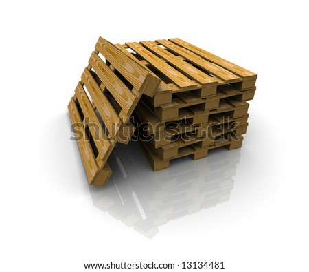 3D group of pallets - stock photo