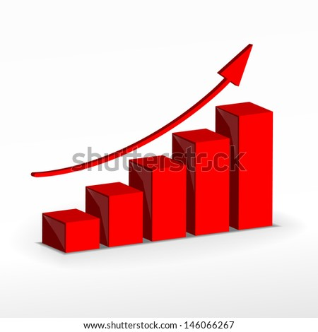 3D Growth bar graph. Business concept. . Raster version. Vector version available in my portfolio. - stock photo